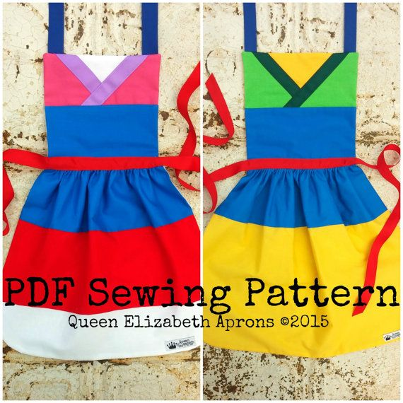 Mulan Disney Princess Inspired Child Costume Apron Pdf Sewing Toddler Dress Up Kids Apron Disney Aprons