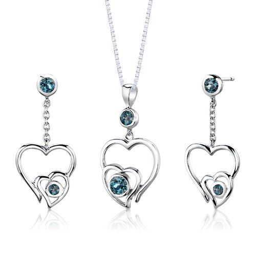 $39.99 Earrings = Genuine London Blue Topaz 2 pieces, Round Cut, 4.00mm, Genuine London Blue Topaz, 2 pieces, Round Shape, 3.00mm. Earring Dimension: 1 3/8x 5/8 inches. Pendant = Genuine London Blue Topaz, 1 piece, Round Cut, 5.00mm. Genuine London Blue Topaz, 1 piece, Round Shape, 4.00mm. Pendant Dimensions: 1 1/4 x 5/8 inches. Earrings and Pendant have a total weight of 6.60 grams and are set in pure Sterling Silver Rhodium Finish with .925 stamp...
