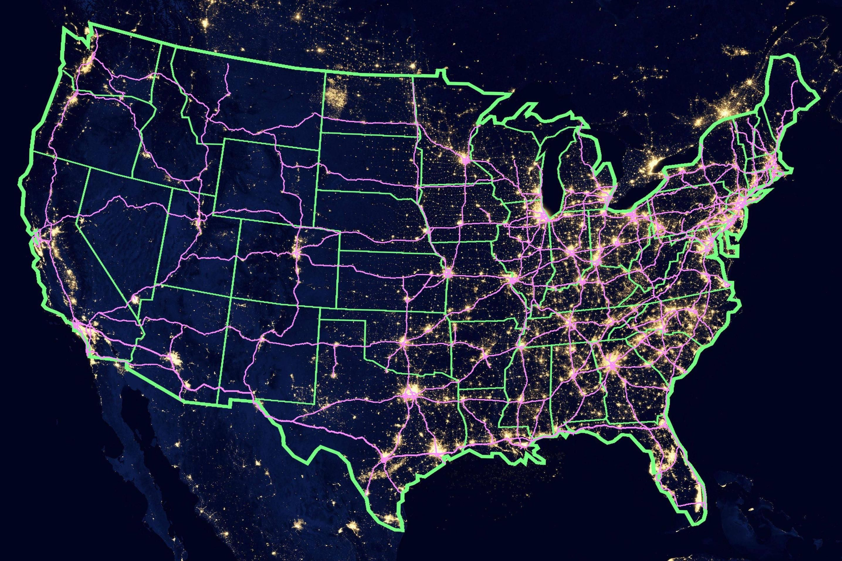 Map Of Us At Night Lights Here's a US map showing the constellation of city lights and