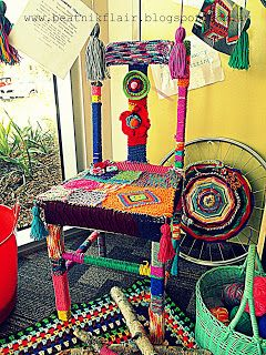 Yarn Bombed chair by 'Secret Nanna's Business'  www.beatnikflair.blogspot.com.au