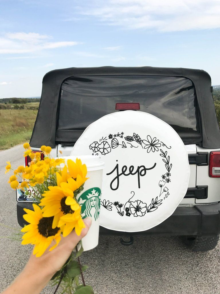 White Floral Jeep Tire Cover Dream Cars Jeep Jeep Tire Cover Jeep Wrangler Tire Covers