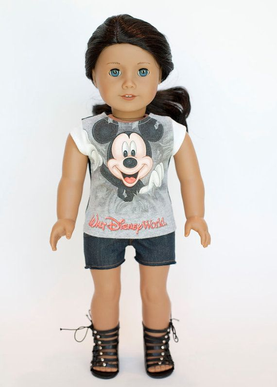 American Girl doll upcycled Mickey Mouse t by EverydayDollwear, $9.00