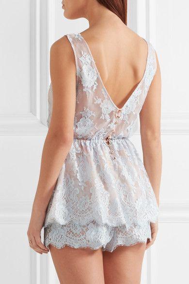 Rosamosario Woman Sweet Sumatra Lace And Silk-chiffon Pajama Shorts Sky Blue Size M Rosamosario Affordable R930OR