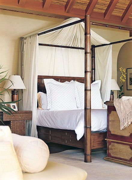 Romantic Outdoor Bamboo Canopy Bed Furniture Home Staging And