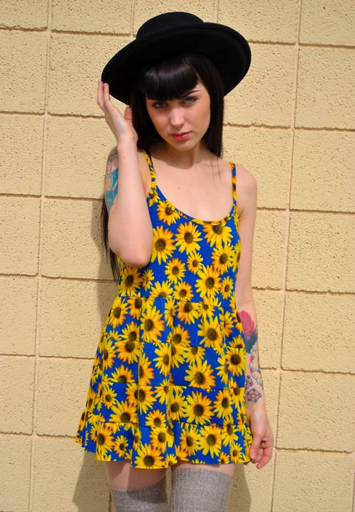 Sunflower dress has a 90s grunge vibe x