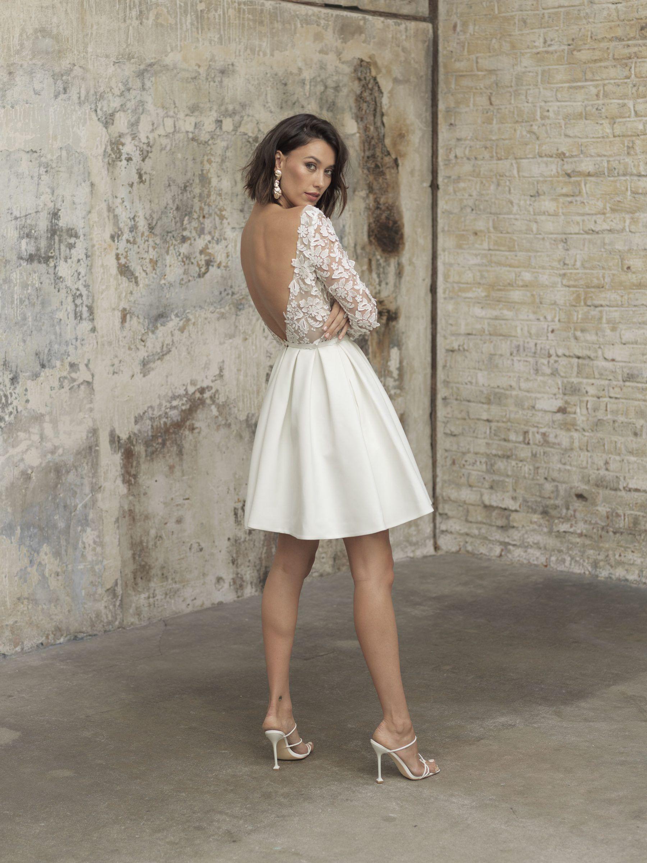 Long sleeve embroid ered flower skater white wedding dress