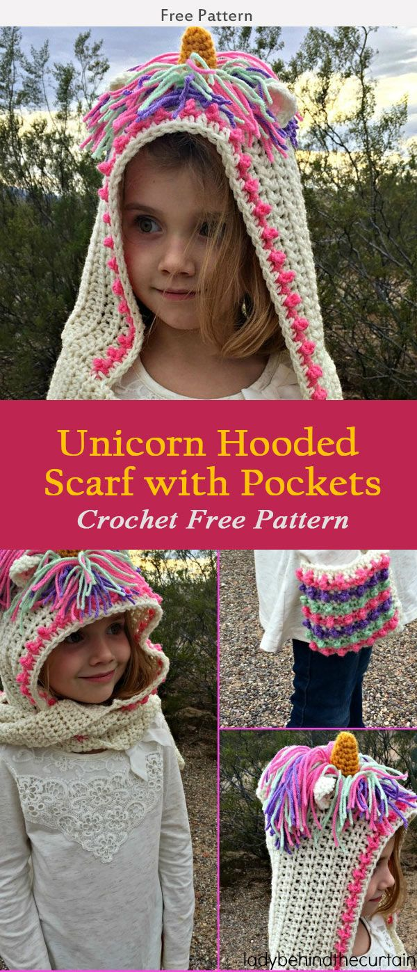 Unicorn Hooded Scarf with Pockets Crochet Free Pattern | Hooded ...