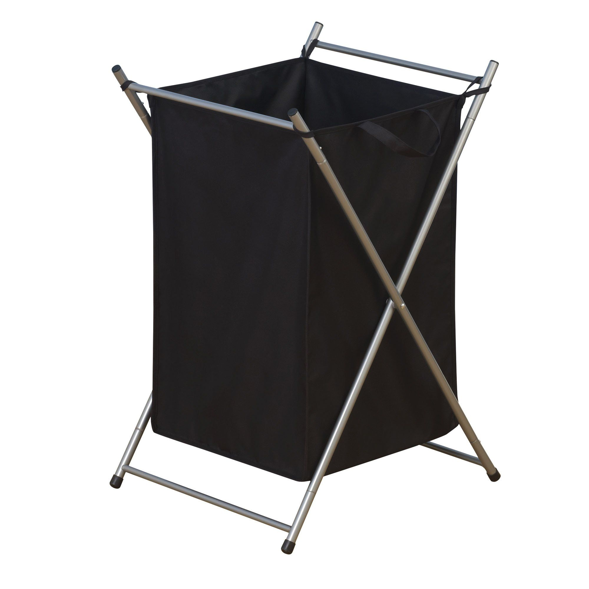 Household Essentials Folding Laundry Hamper with Black Polyester Bag ...