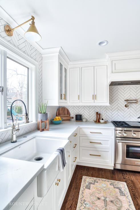 Alpine White Cabinets with Brass Hardware in NJ | Interior Decor ...