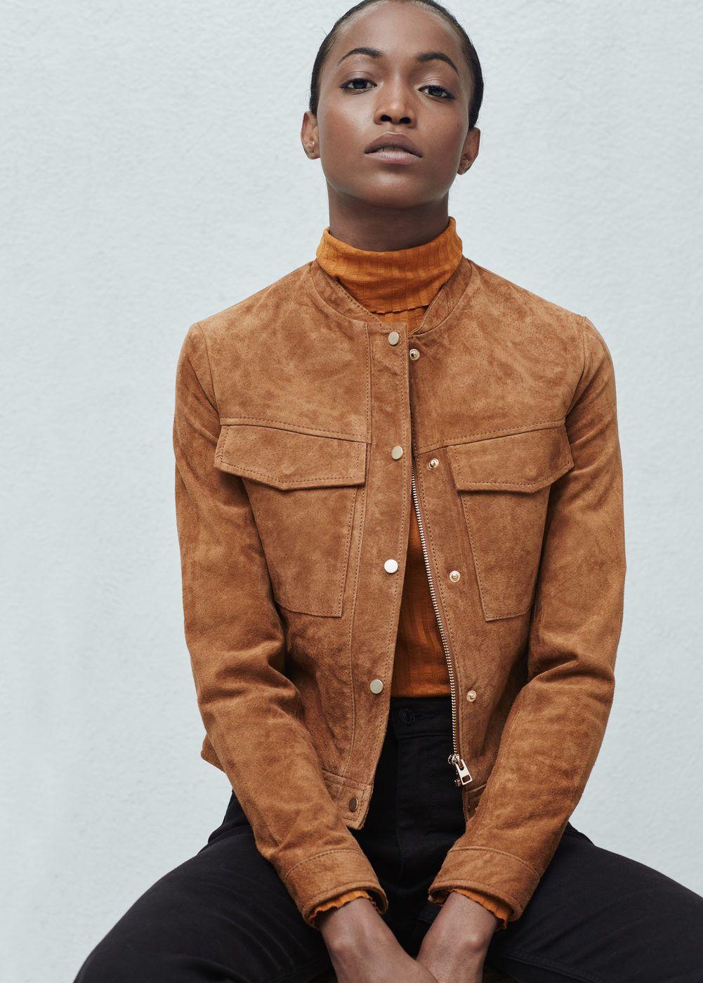 Blouson daim poches - Vestes pour Femme   MANGO e9c4512c1789
