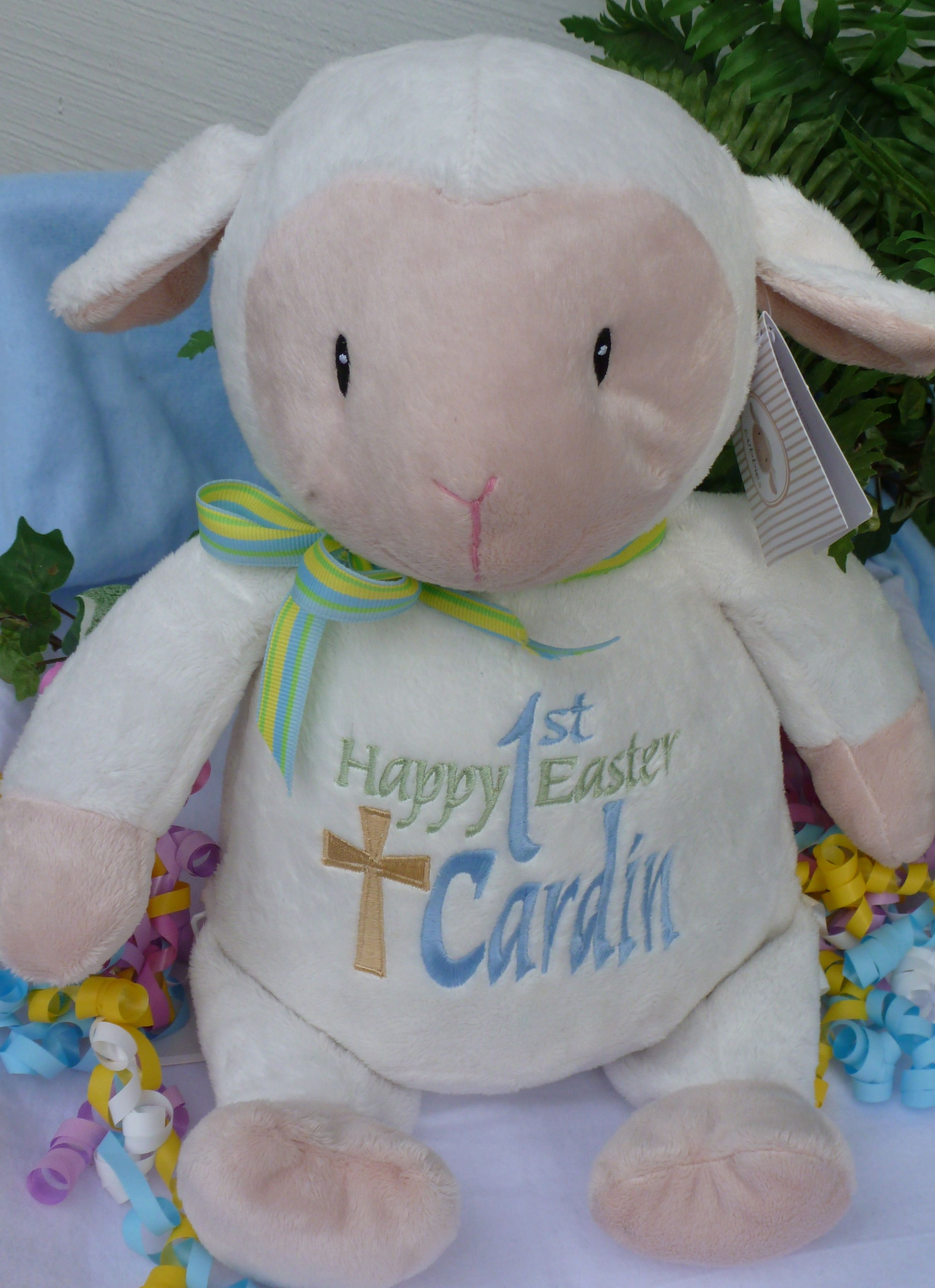 Easter gift. Baby gift. Plush lamb PERSONALIZED by World Class Embroidery.