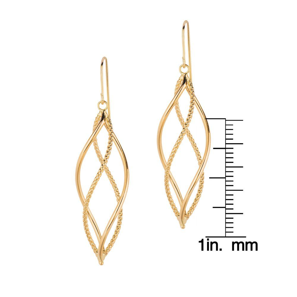 39460c297 Shop 14k Yellow Gold Pol Double Row Free Shape Dangle Earring - On Sale - Free  Shipping Today - Overstock.com - 10208311