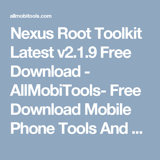 Nexus root toolkit скачать