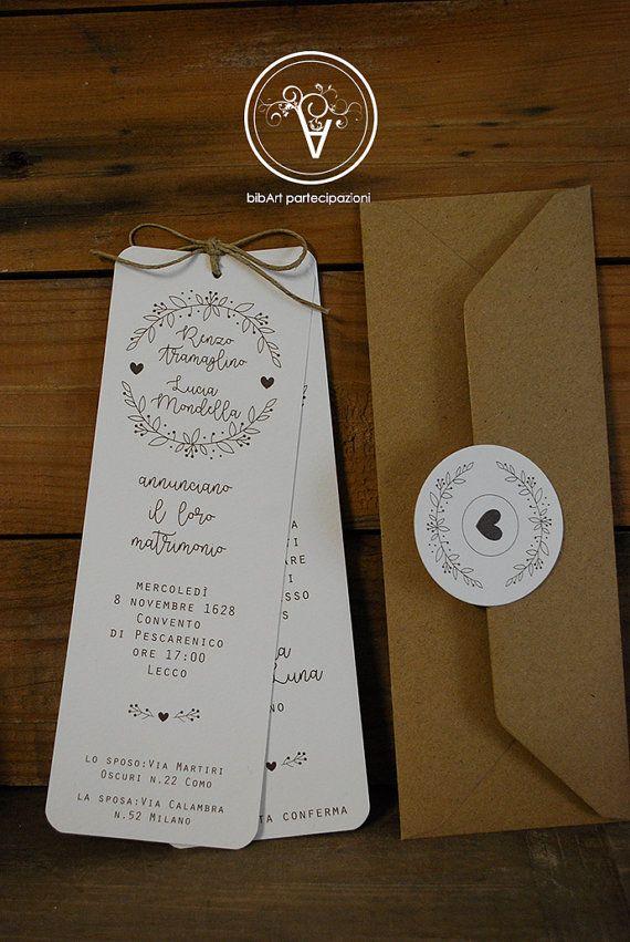 Invito Matrimonio Rustico : Partecipazione invito nozze matrimonio di bibart su etsy