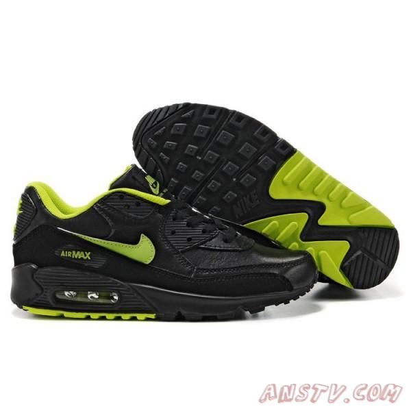huge discount dd5a3 ab78f Cheap Cheapest Nike Air Max 90 Mens Premium Trainers Black And Green  Sneaker Sale UK Store