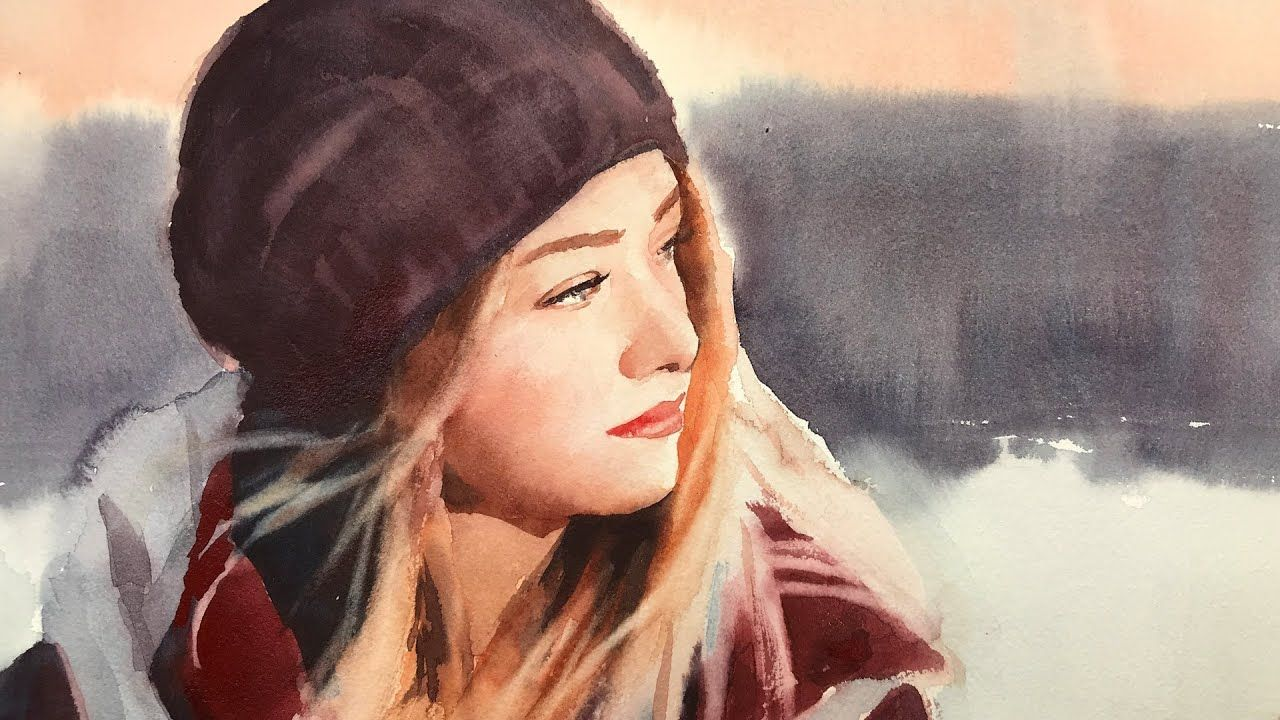 Watercolor Portrait Painting Of A Girl In 2020 Watercolor