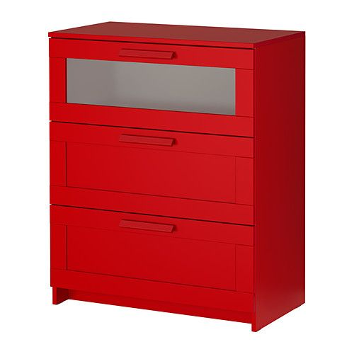 Ikea Brimnes Chest Of 3 Drawers Red Frosted Gl Smooth Running With Pull Out Stop