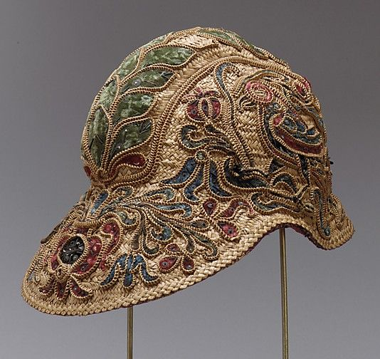 Straw hat, Spanish, 16th century (spangles and purl on straw! )