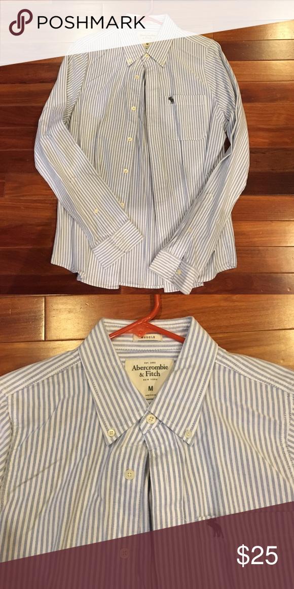 Abercrombie & Fitch striped dress shirt White and blue striped shirt 100% cotton Abercrombie & Fitch Shirts Dress Shirts
