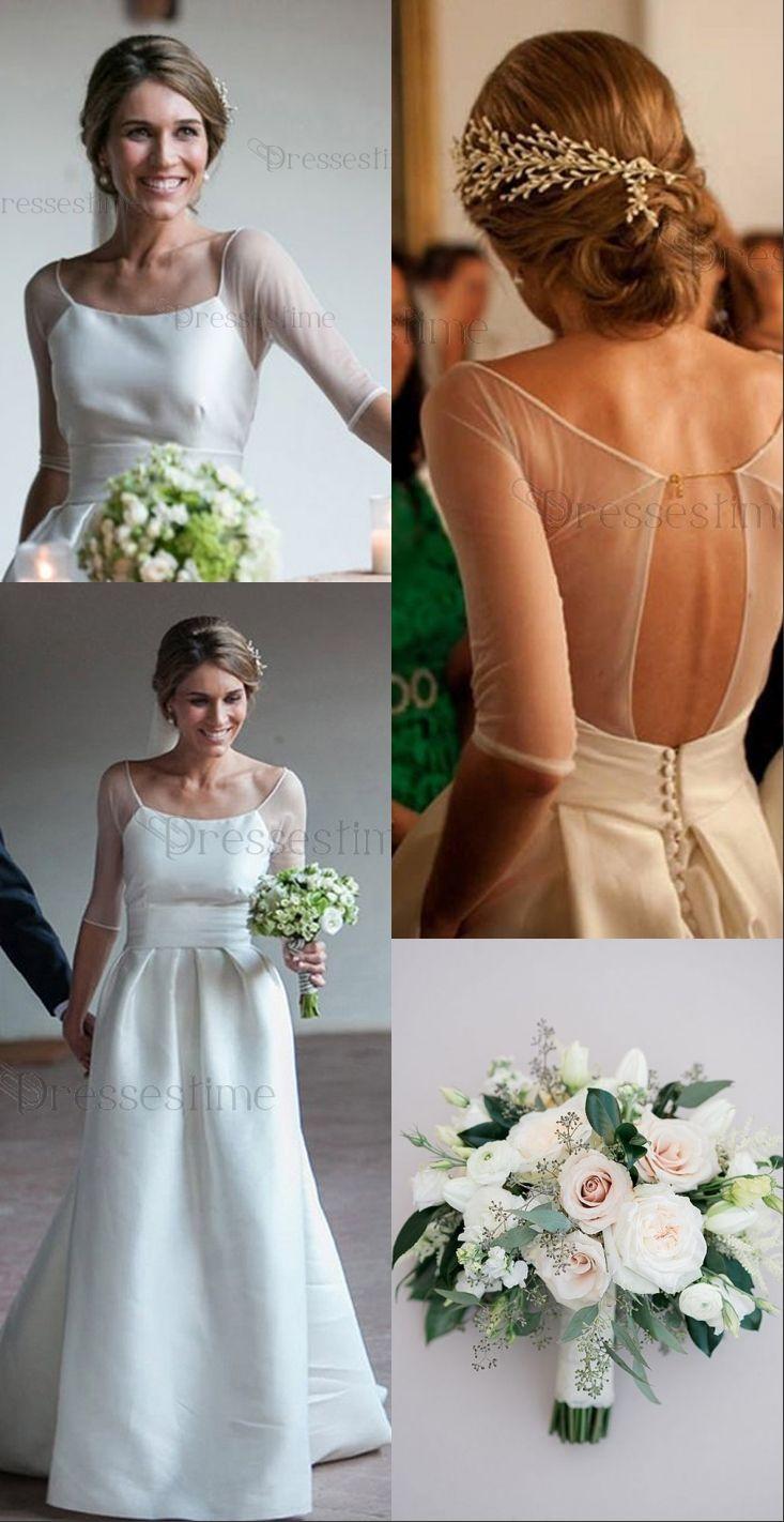 Modern aline wedding dress scoop half sleeves open back laceup