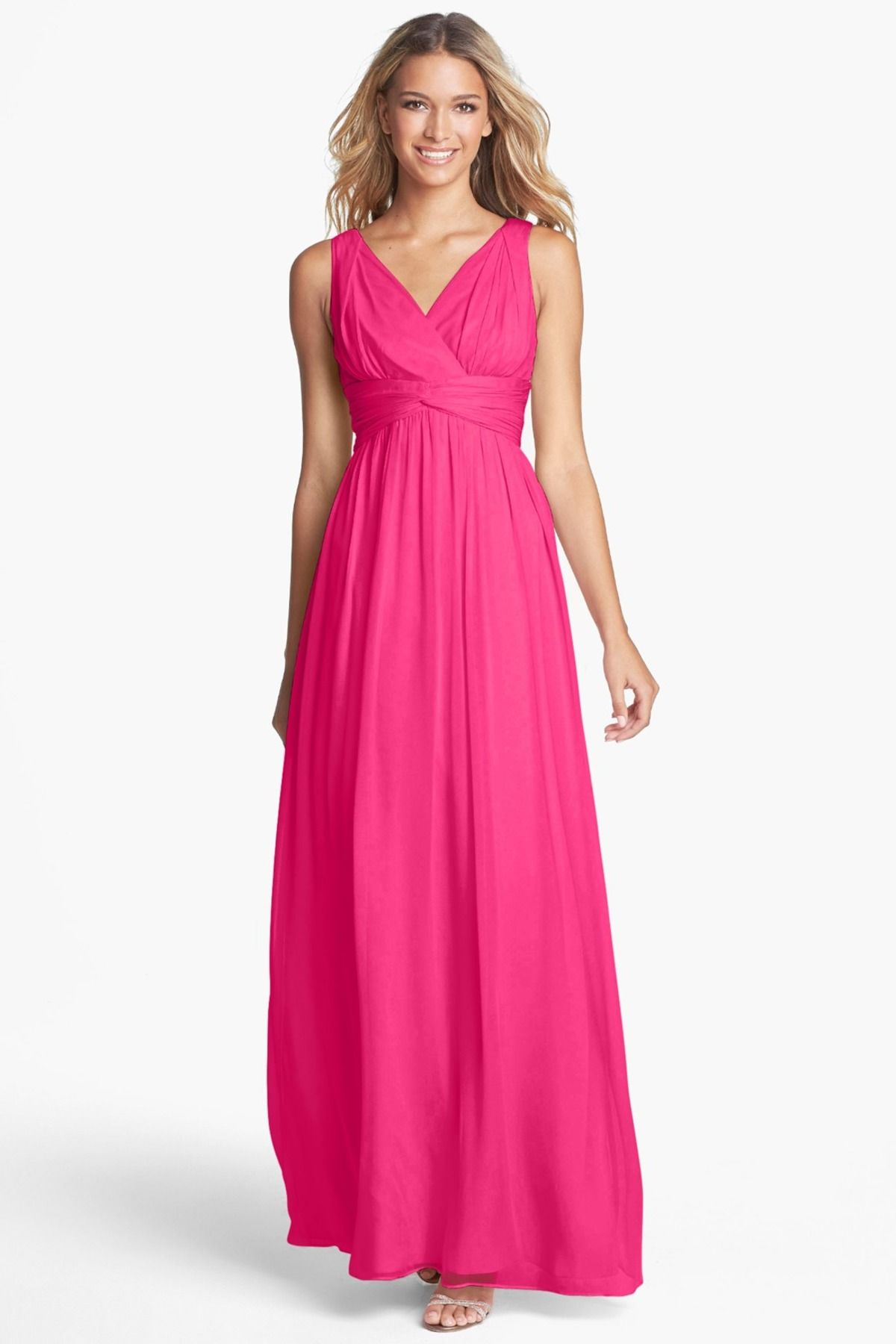 Julie Twist-Waist Silk Chiffon Gown | Pinterest