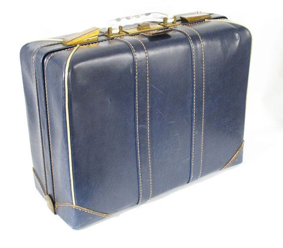 Vintage 1950s Navy Blue Faux Leather Olympic Suitcase 18 x 13