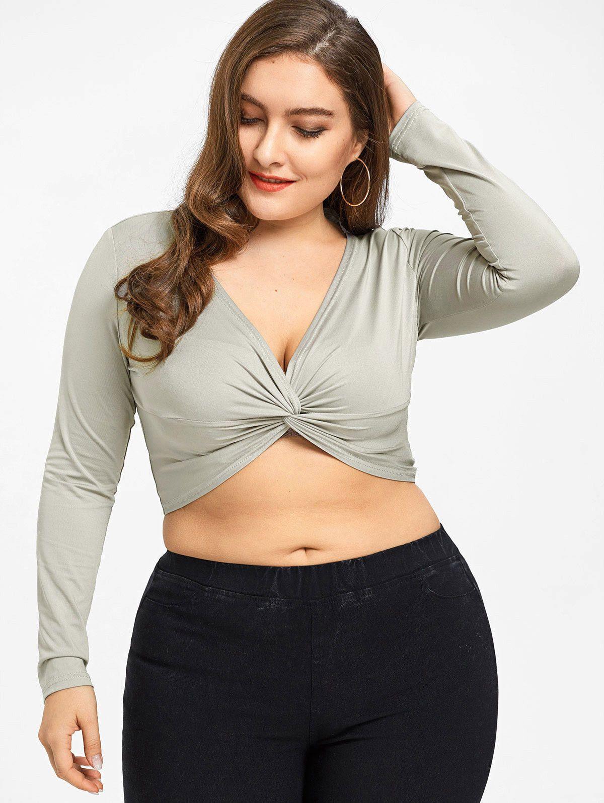 eb43099fb7ee1  6.99 - Women s Plus Size Front Twist Crop Top Xl-5Xl Long Sleeve Top  Blouse  ebay  Fashion