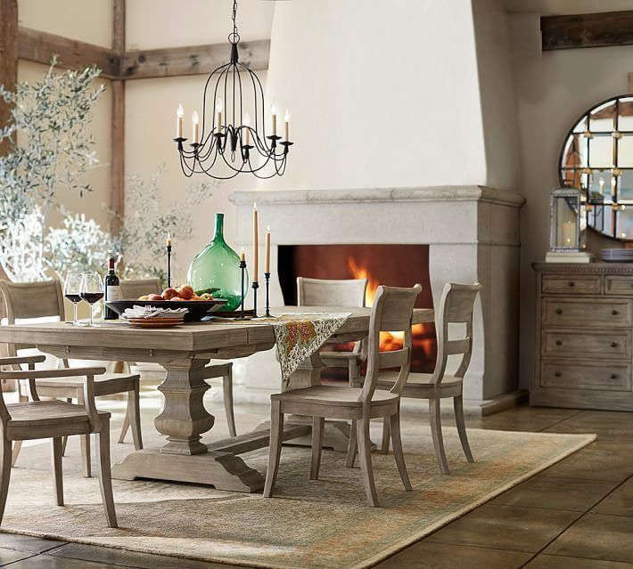Pottery Barn Banks Extending Dining Table Buffet Grey Wash Havenly Dining Room Dining Room Table Metal Dining Table