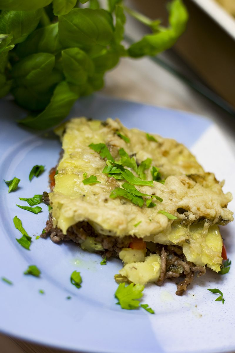 Photo of Baked potato gratin with minced meat and cheese