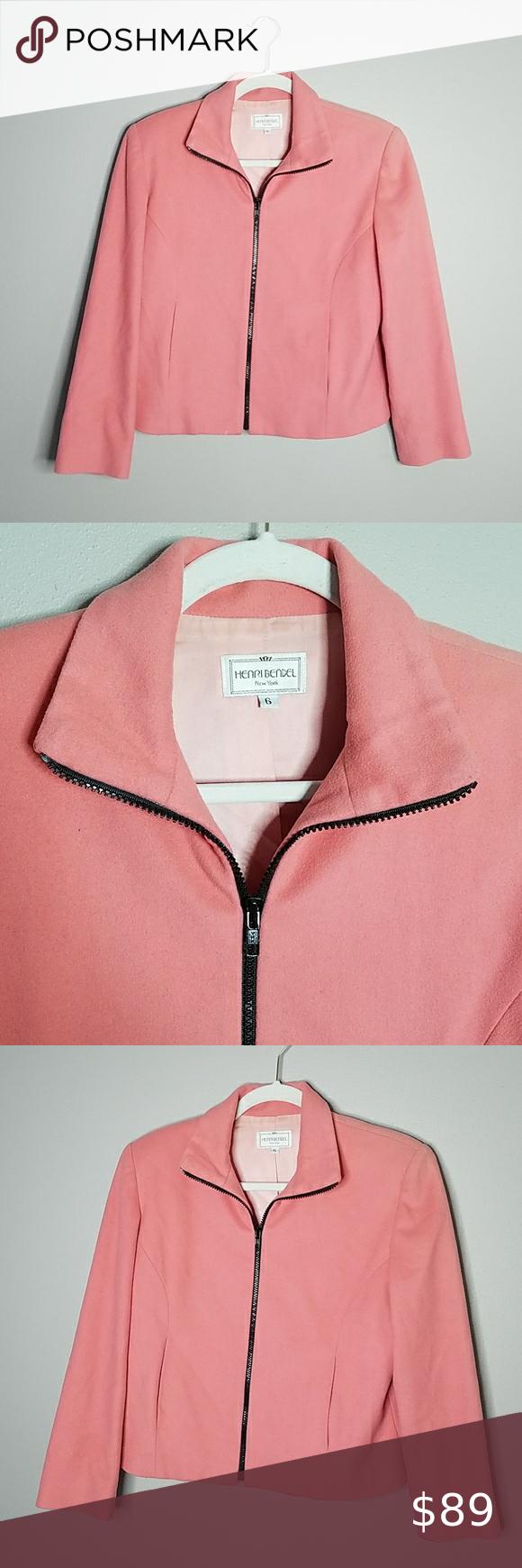 Henri Bendel Coat, Size 6 Vintage Henri Bendel Coat in Coral, Size 6.  Black Zipper with Two Pockets.  Shell-80% Wool, 20% Cashmere.  Lining-100% Acetate.   Measures approximately 21.5