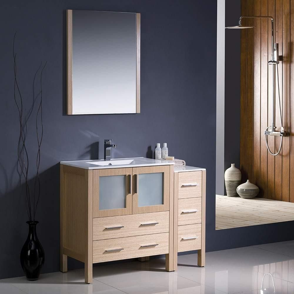 Fresca torino 42 light oak modern bathroom vanity w side cabinet fresca torino 42 light oak modern bathroom vanity w side cabinet integrated sink mozeypictures Image collections