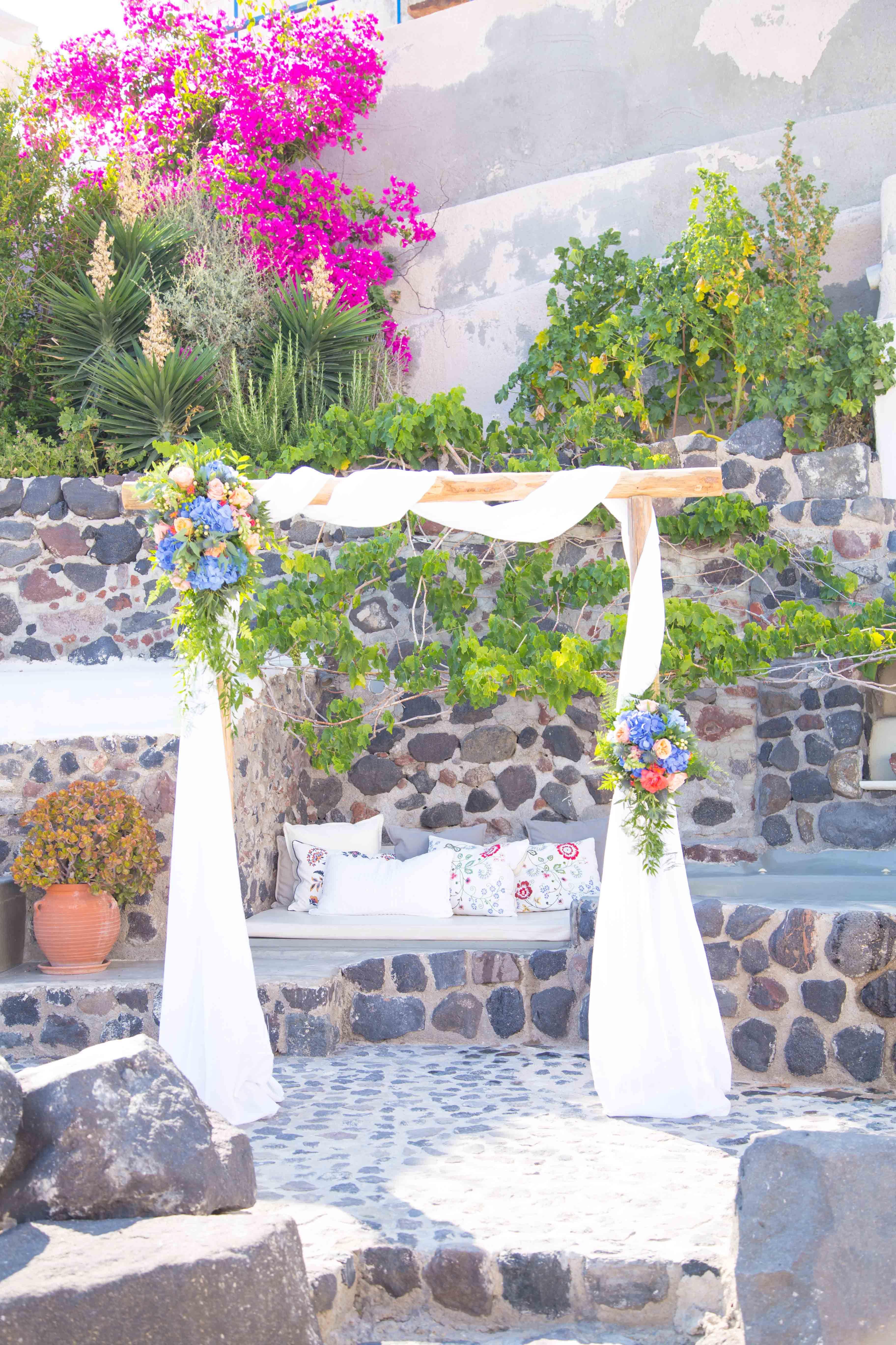 Wedding decorations tent october 2018 A beautiful wedding arch in Santorini wedding   My view  My