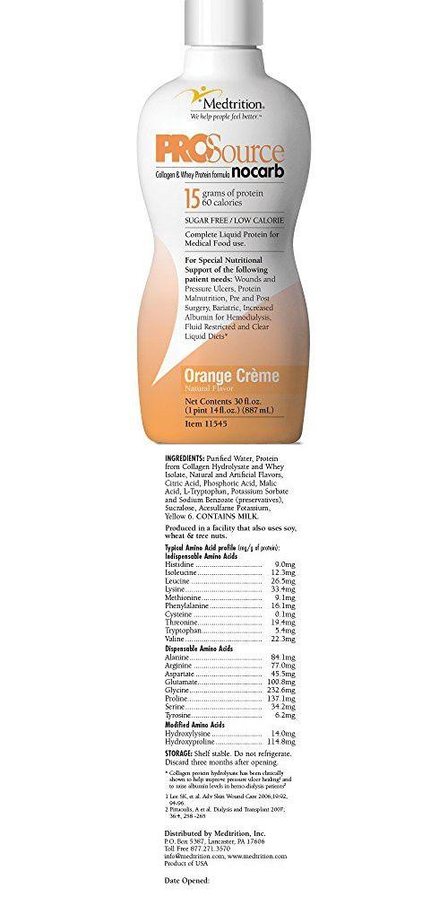 Prosource NoCarb Orange Crème Bottles: Concentrated liquid protein