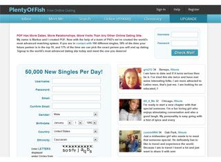 Dating website layout