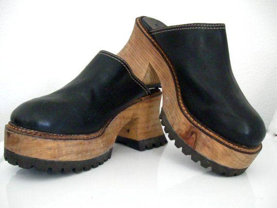 10284aff964e Vintage 80s London Underground Platform Clogs Black Leather Wooden Platform  Tire Tread Sole Sz 10 Unisex Mens 8