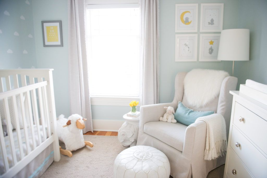 Up In The Sky Nursery Baby Blue And Yellow Themed With Clouds Moon Sun