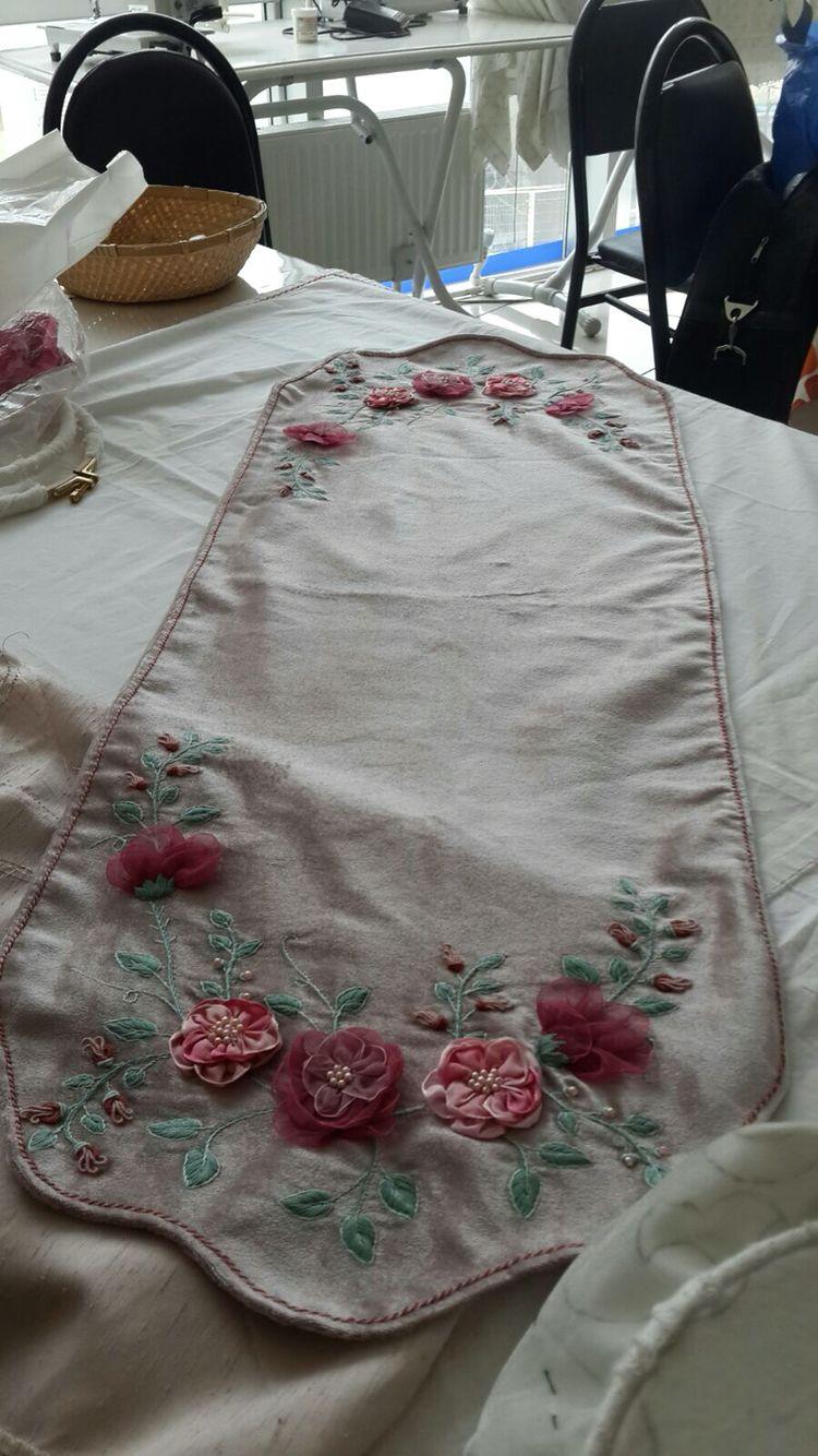 Ribbon embroidery bedspread designs - Kurdele Nak Sehpa Rt S