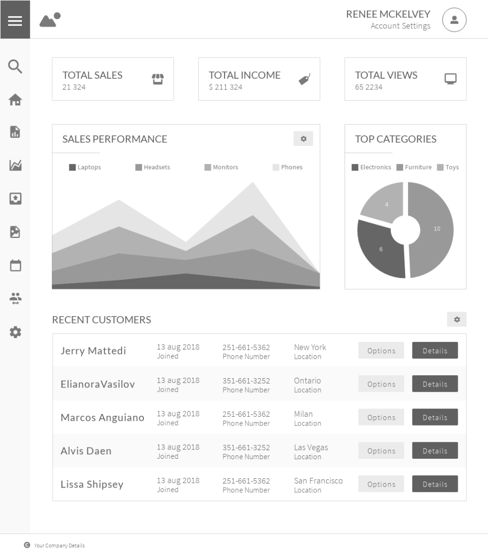 Admin Dashboard Wireframe Wireframe Wireframe Template Prototyping Tools
