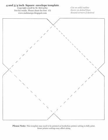 4 And 3/4 Inch Square Envelope Template By Stampztoomuch - Cards