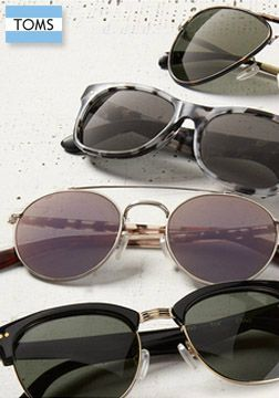 Each pair of TOMS sunglasses will help to restore sight. Check out the new fall collection to put you in the giving mood.