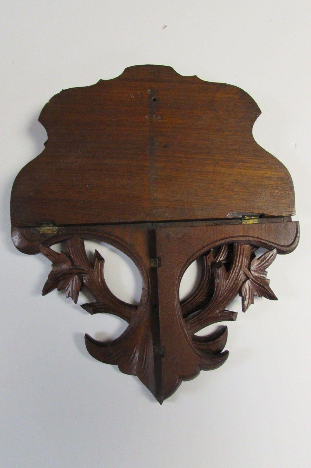 Antique Victorian Eastlake Walnut Wood Carved Folding Wall Hanging Curio Shelf Ebay