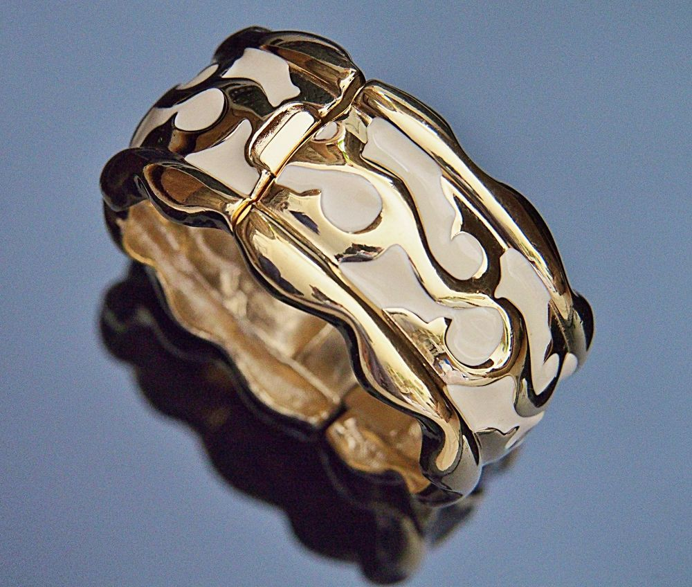 Givenchy vintage womens bangle bracelet wide gold plated enamel