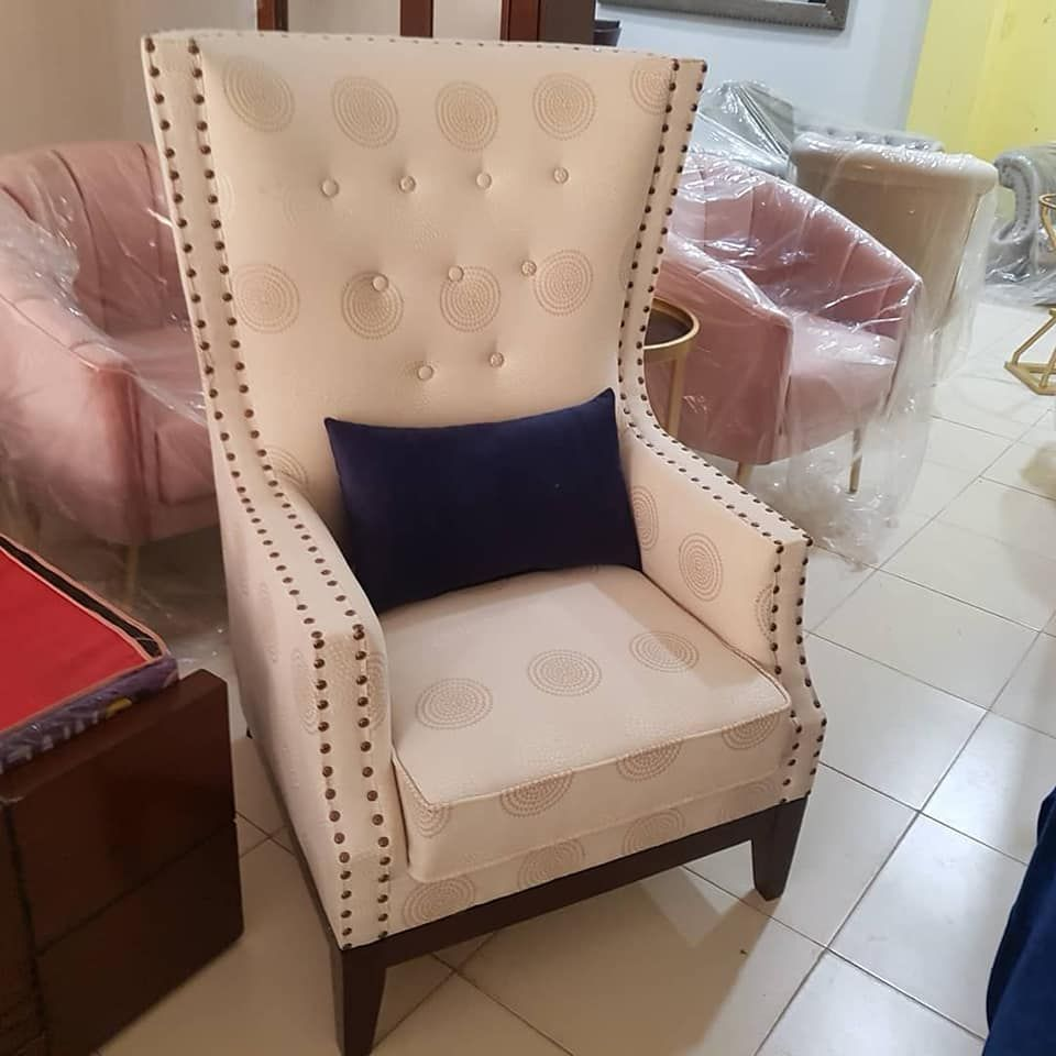 HIgh back bedroom chair design visit www.iwood.pk in 3  Chair