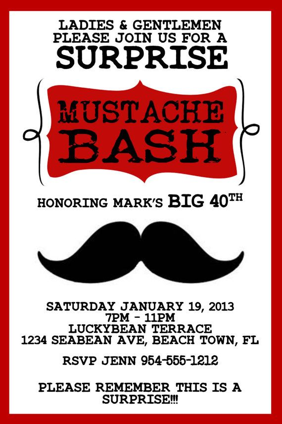 Red mustache bash invitation template 4x6 stopboris Images