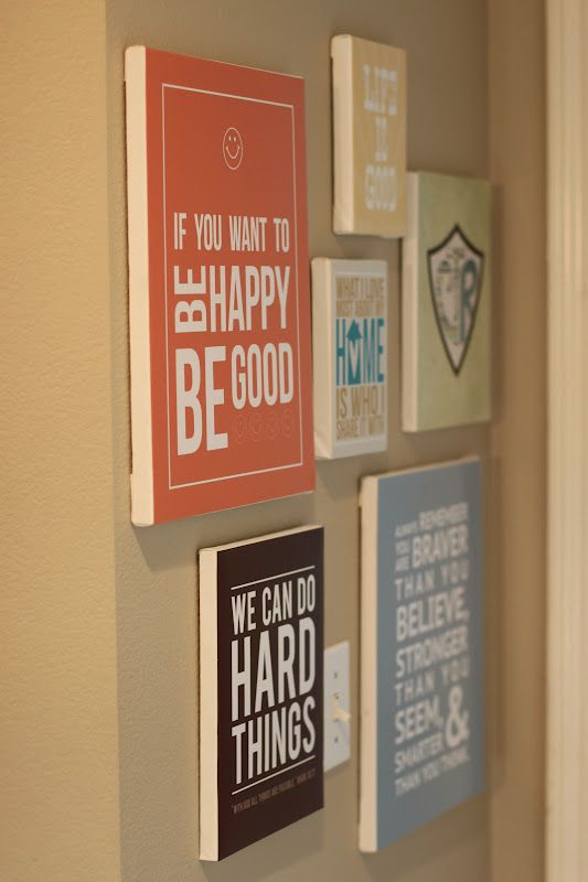 Ideas : Free printables. Print them on scrapbook paper and then mod podge them to a board.