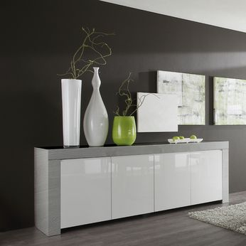 buffet bahut moderne bois gris et blanc laqu pietra 2. Black Bedroom Furniture Sets. Home Design Ideas