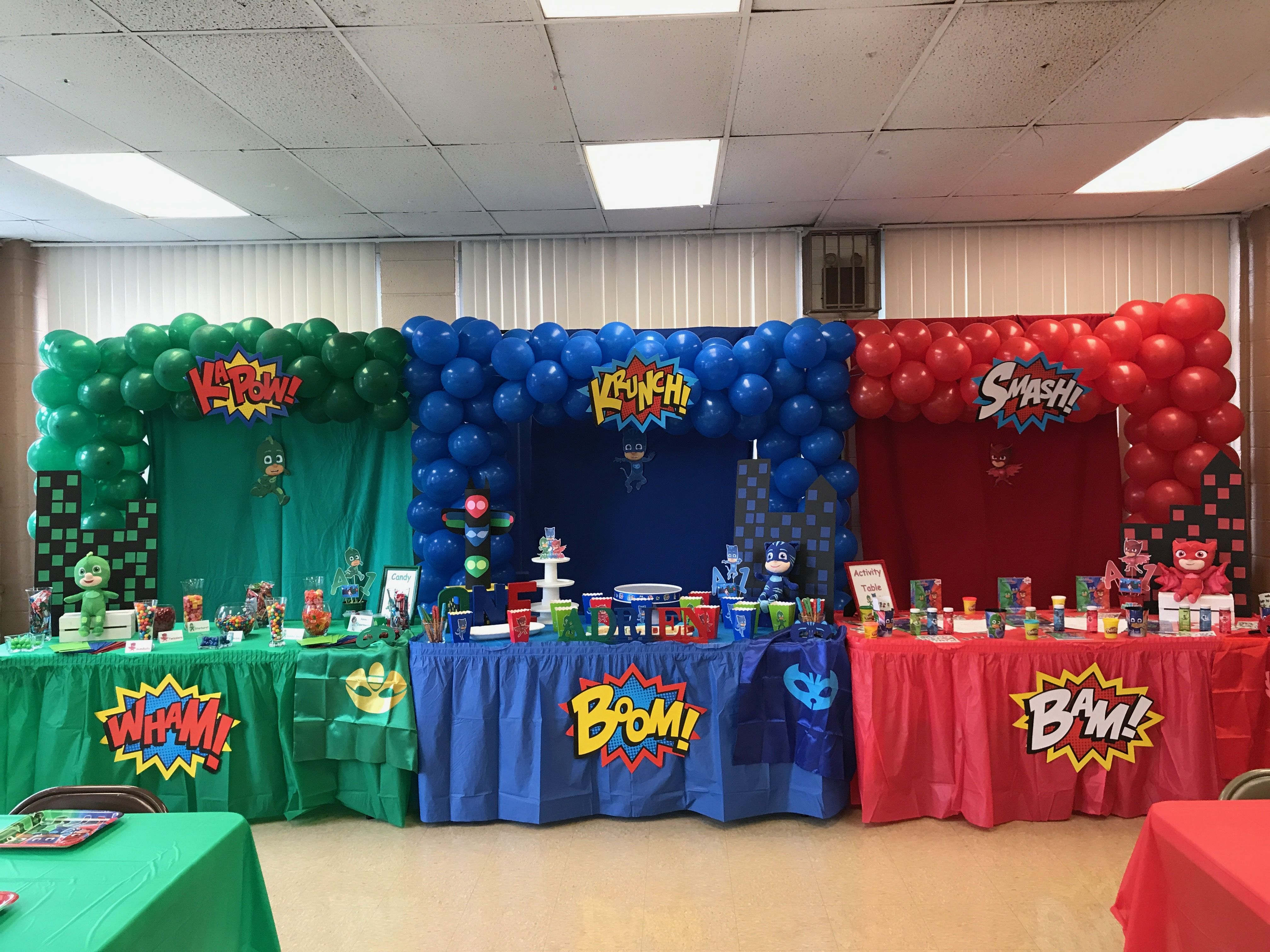 Pj Mask Party Triple Balloon Arch Kr Kreations