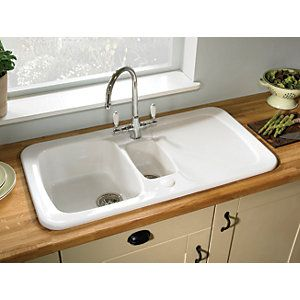 kitchen sinks wickes wickes farmhouse 1 5 bowl kitchen ceramic white sink 3069