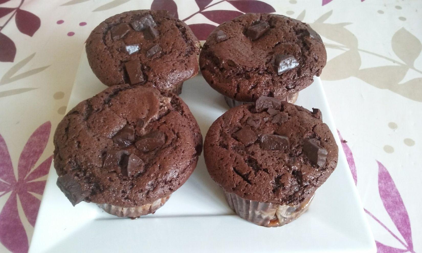 Muffins chocolat + cœur caramel | Muffin chocolat, Chocolat et Muffins