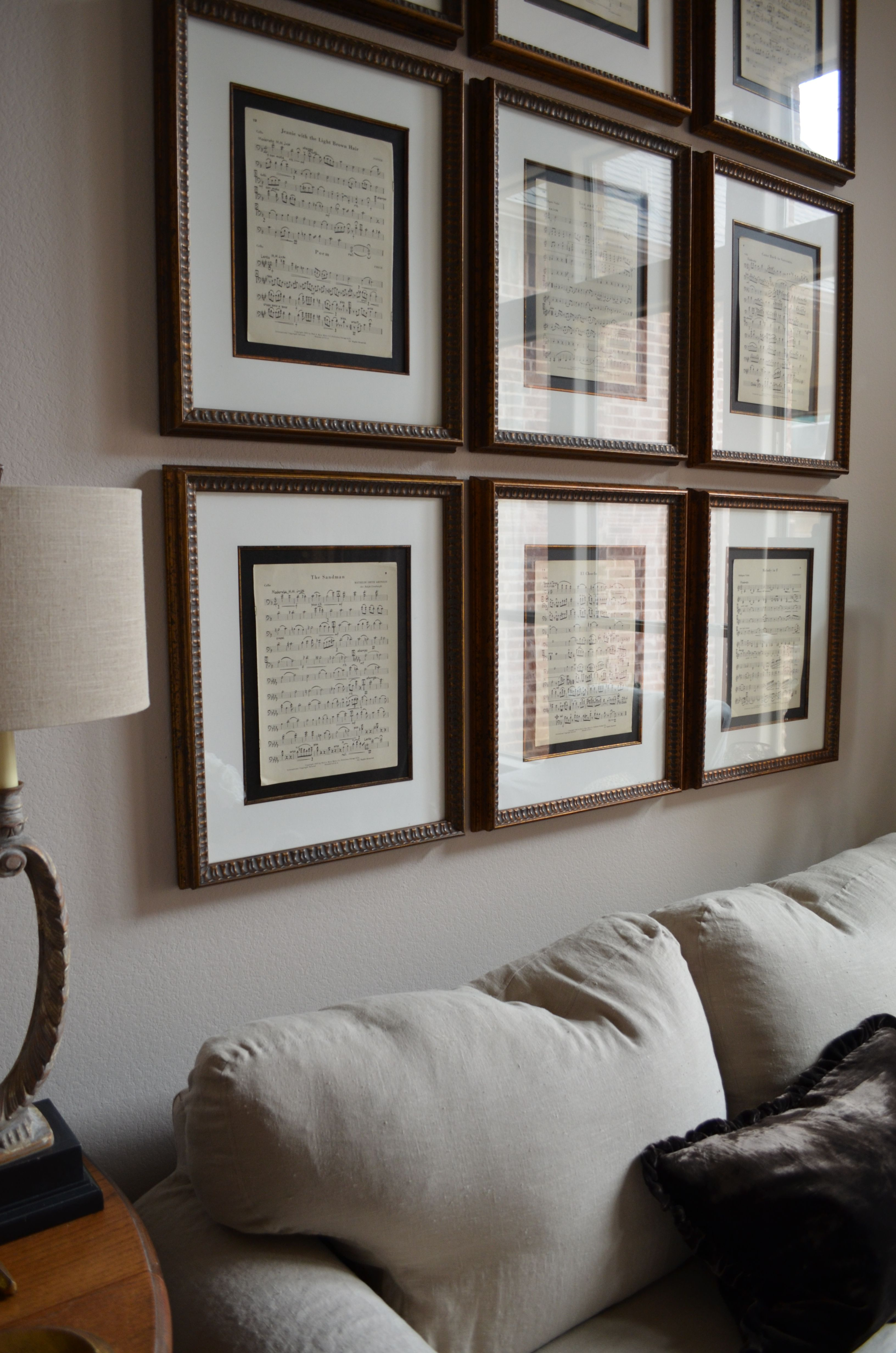 Framed Sheet Music Love Her Idea Of Letting The Black Background Show For Contrast Wall Decor Living Room Framed Sheet Music Decor